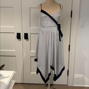 Navy and white midi dress
